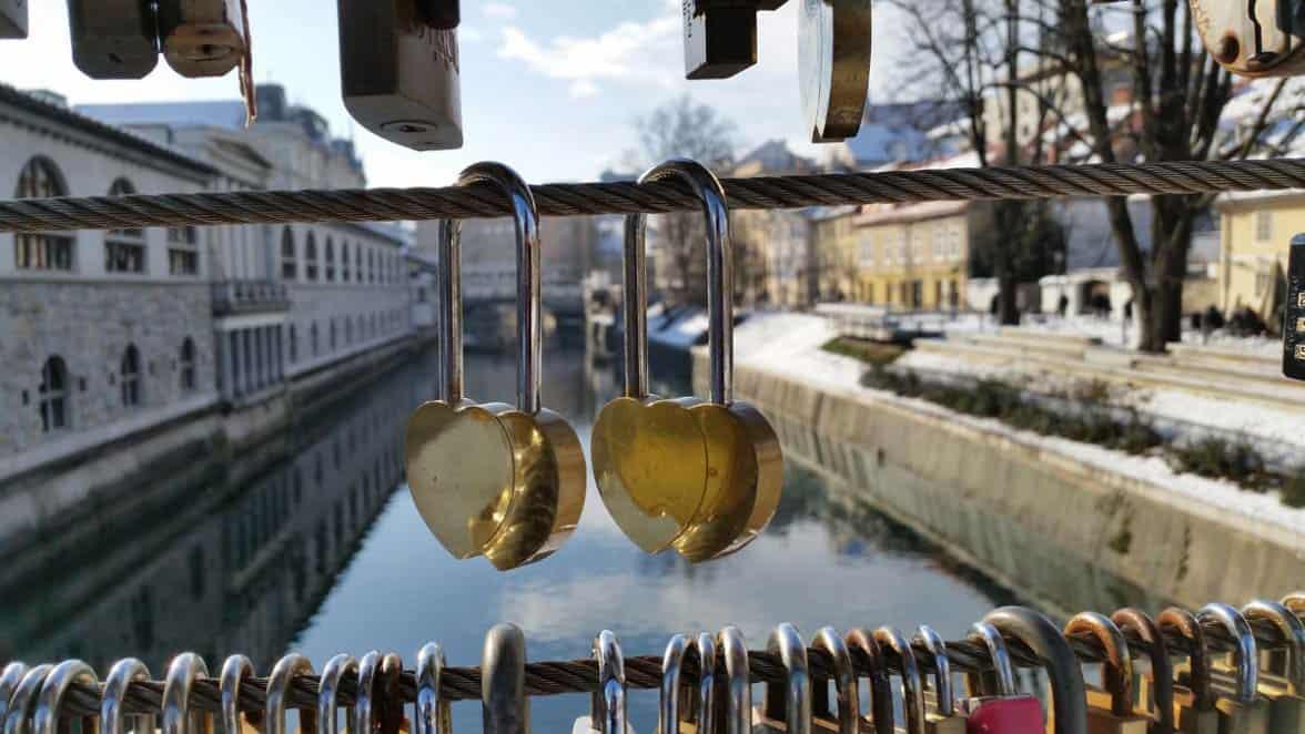 Photo of two lovers locks on Butchers' Bridge