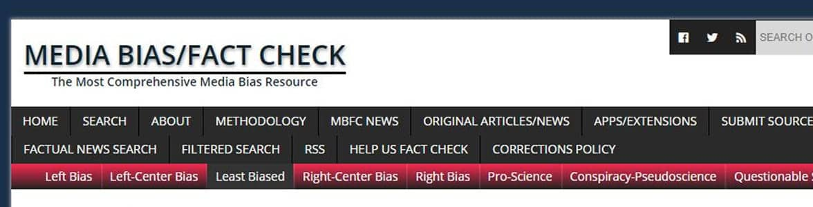 Screenshot of Media Bias/Fact Check's homepage