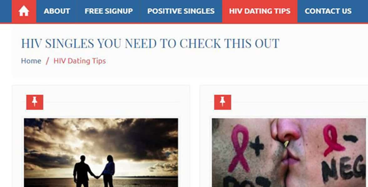 Screenshot of HIVPositiveDatingSites.org's blog
