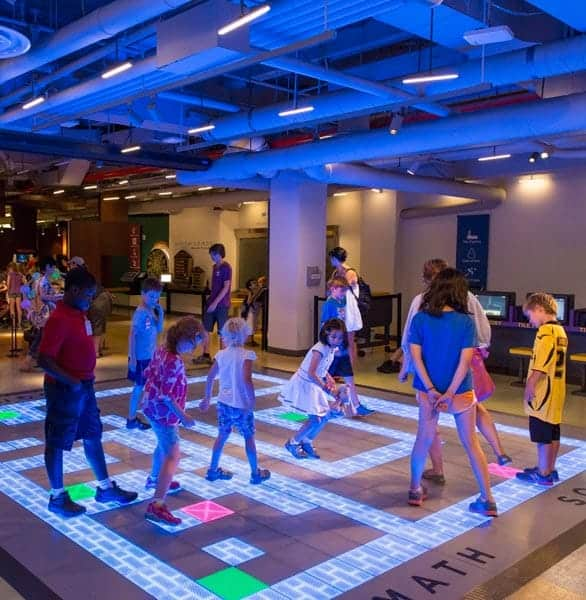 Photo of a light-up floor at MoMath