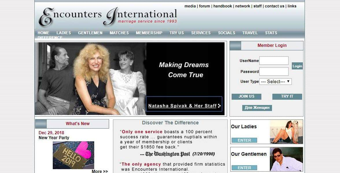 Screenshot of Encounters International's website