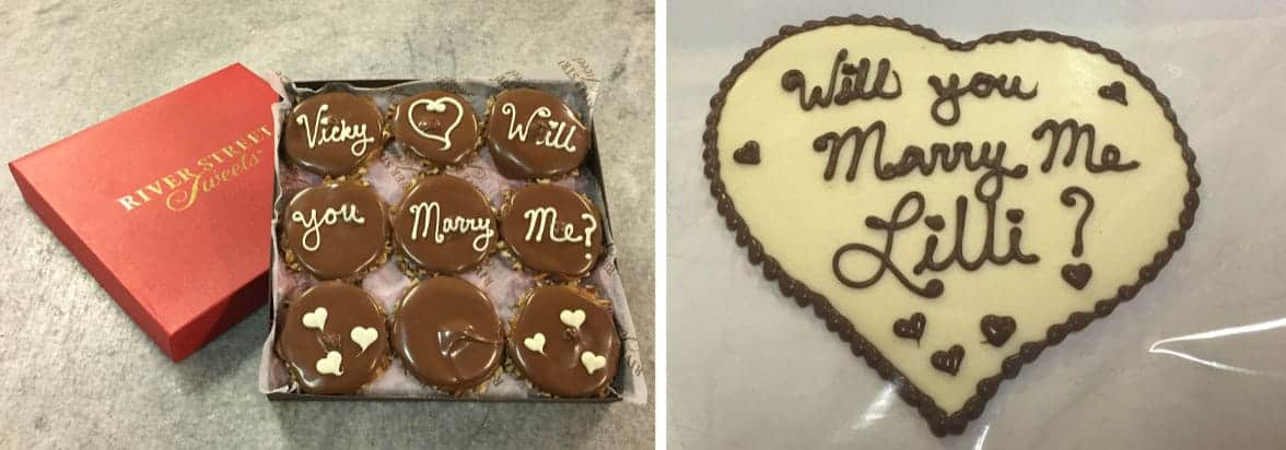 Collage of photos of proposals written on River Street Sweets treats