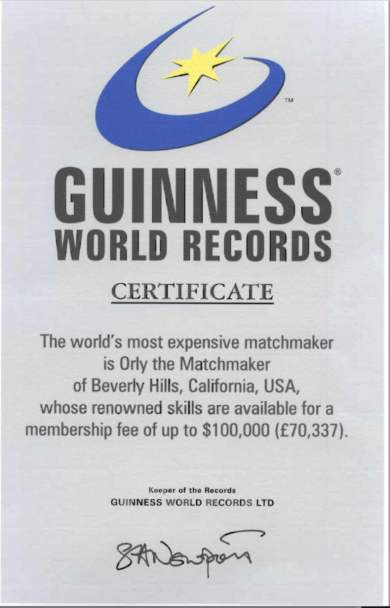 Orly the Matchmaker's certificate from the Guinness World Records