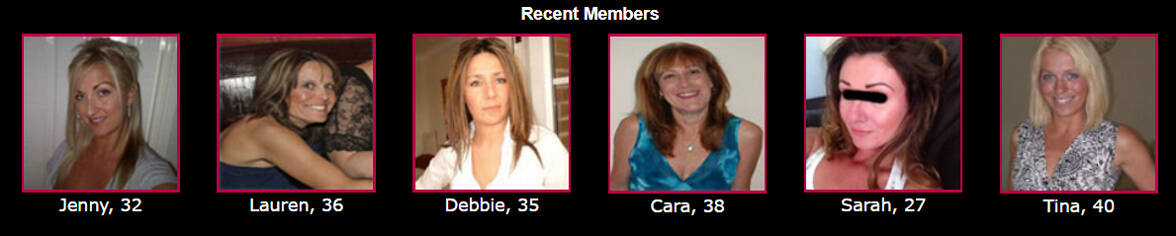 Screenshot of recent members on The Affair Site