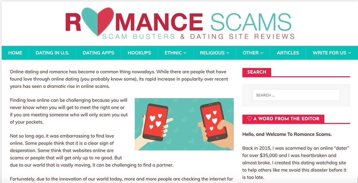 Screenshot of RomanceScams.org