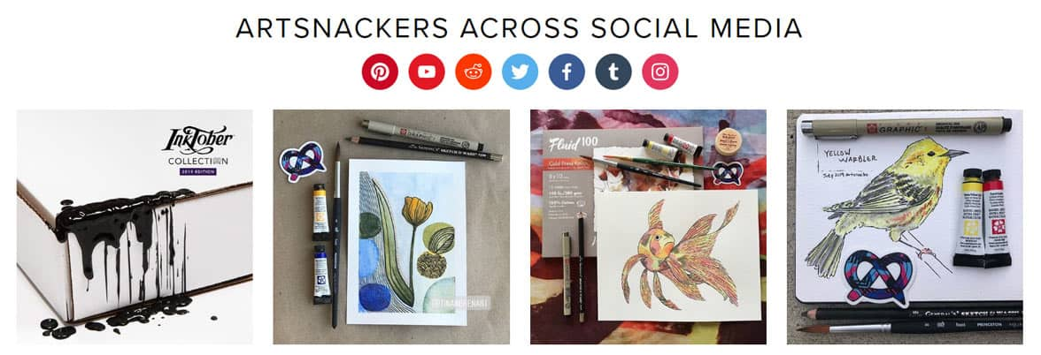 Screenshot of ArtSnackers on social media