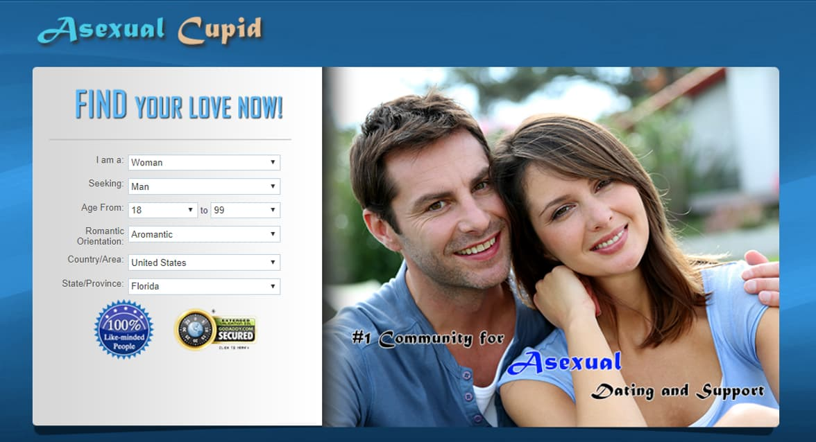 Screenshot of AsexualCupid.com