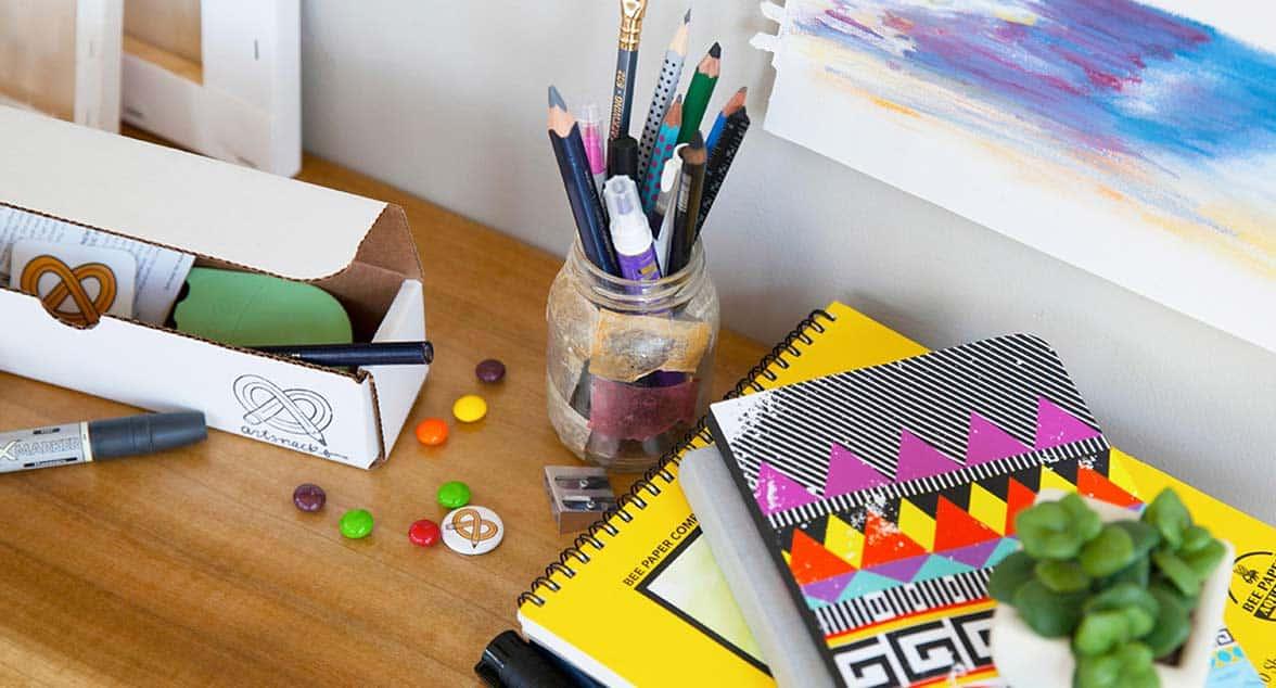 Photo of open ArtSnacks box and supplies