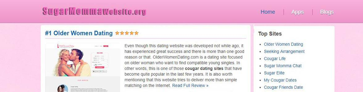 Screenshot of SugarMommaWebsite.org