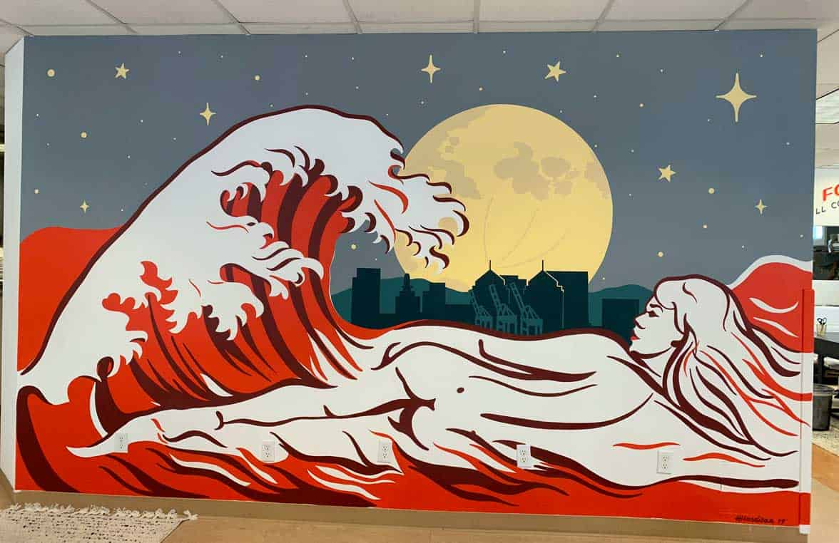 Photo of artist Heather Hardison's mural at the NextGen Jane offices