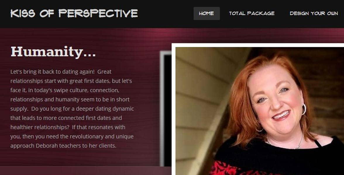 Screenshot of the Kiss of Perspective website