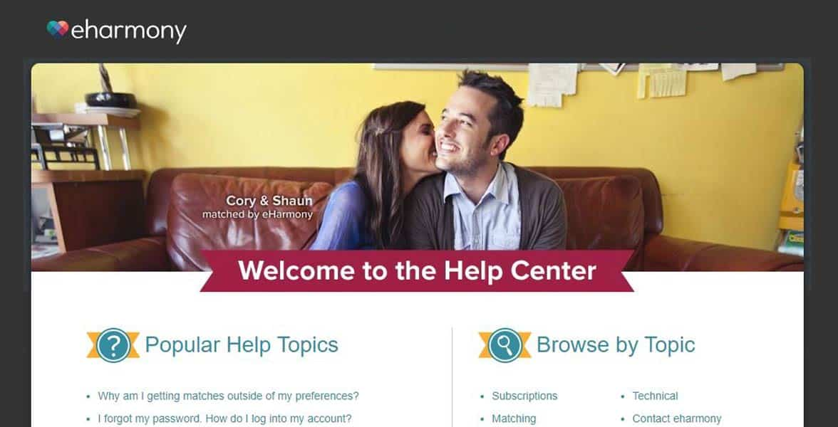 Screenshot of eharmony's Help Center