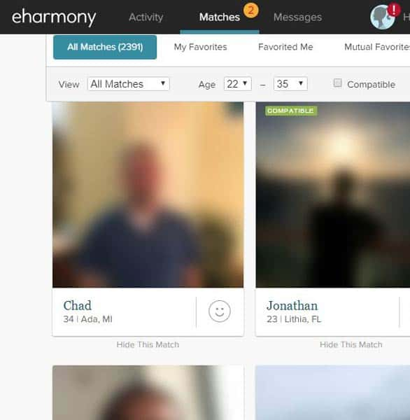 Photo des correspondances eharmony