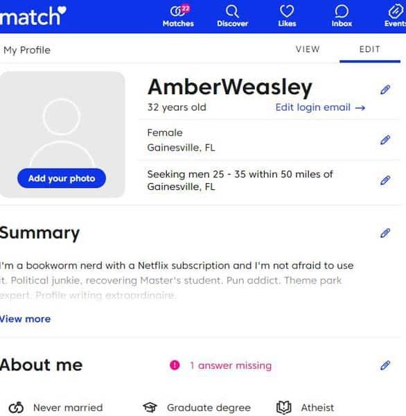 Screenshot of a Match.com profile