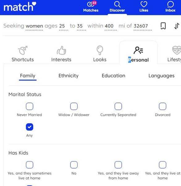 Screenshot of Match.com's search filters