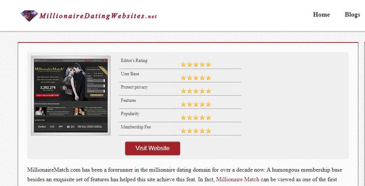 Screenshot of MillionaireDatingWebsites.net
