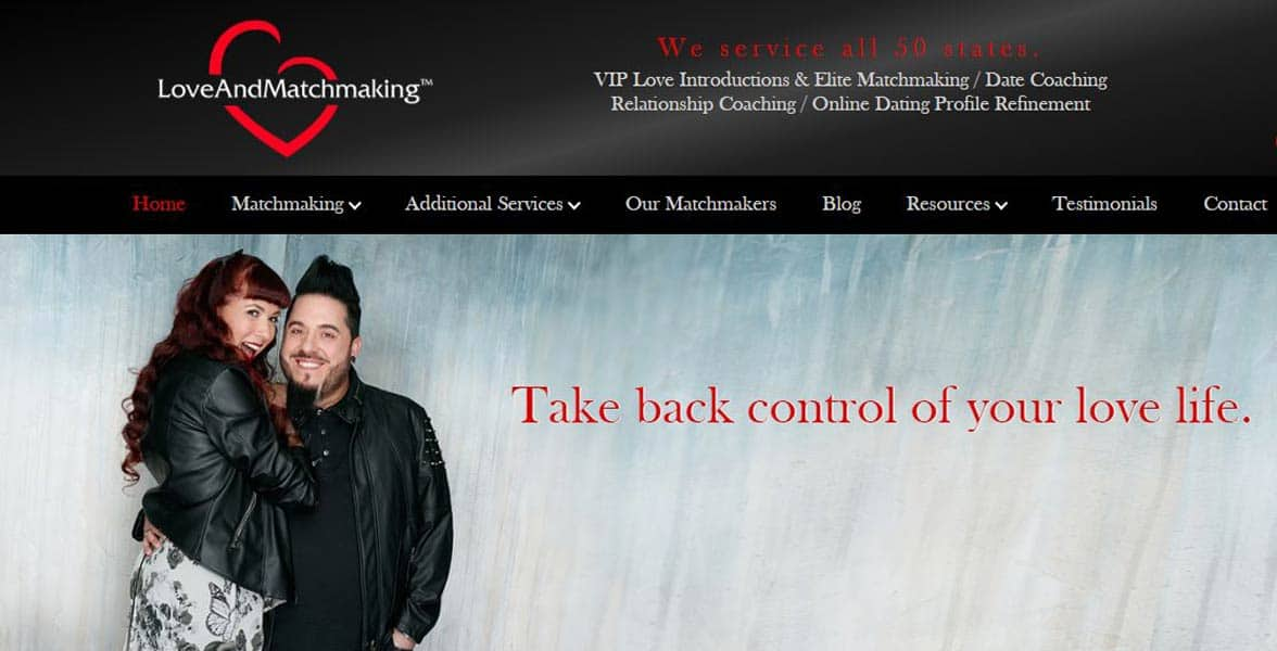 Screenshot of Love and Matchmaking website