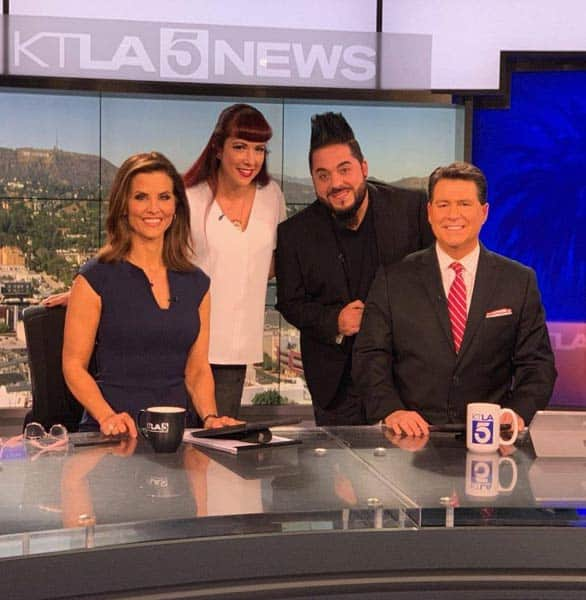 Photo of Rachel and Destin on a local news show
